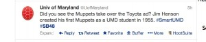 University of Maryland Muppets Tweet