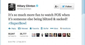Hillary Clinton Super Bowl 48 Tweet