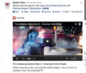 Amazing SpiderMan 2 Super Bowl Trailer Tweet