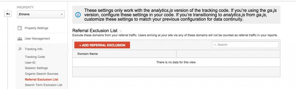 Google Analytics Referral Excllusion